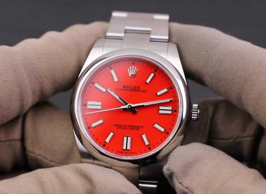 Fake Rolex Oyster Perpetual 41 124300 Red Dial