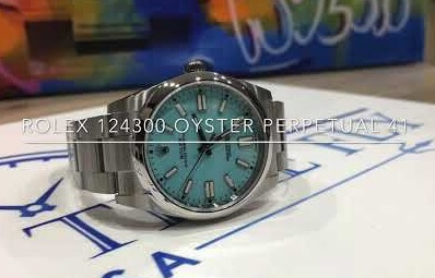 Fake Rolex Oyster Perpetual 41 124300 turquoise blue Dial